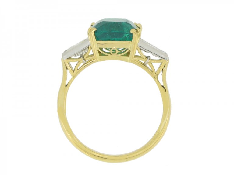back view Vintage emerald and diamond ring, circa 1950s.