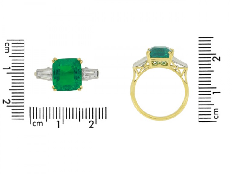 size view Vintage emerald and diamond ring, circa 1950s.