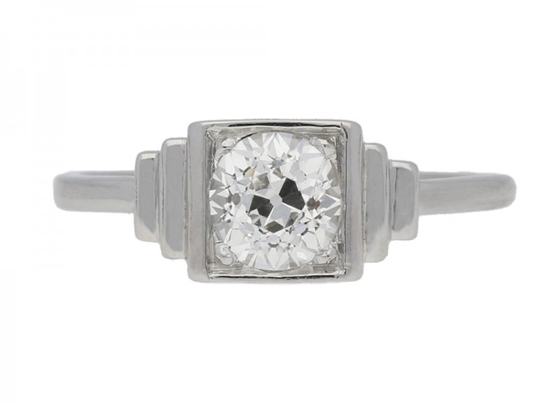 front view Art Deco solitaire diamond ring, circa 1925.