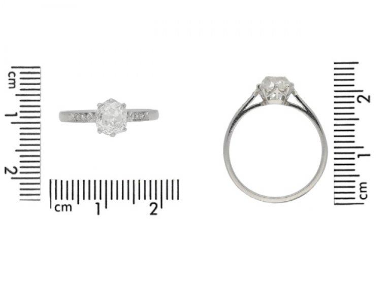 Solitaire old mine diamond ring, circa 1910.