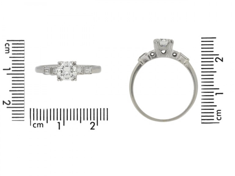 size view Solitaire diamond ring with diamond set shoulders, American, circa 1950.