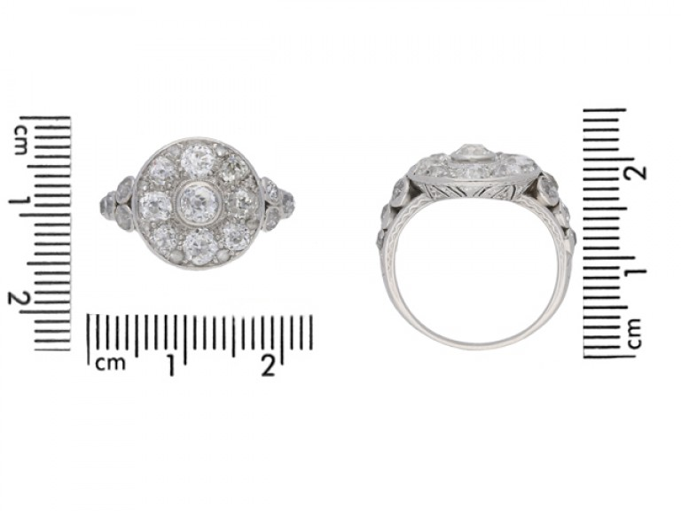 size view Antique diamond cluster ring, circa 1910.