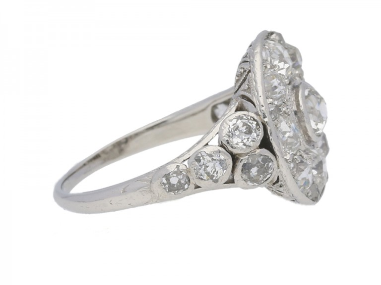 side view Antique diamond cluster ring, circa 1910.