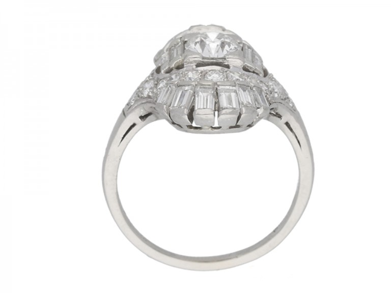 BACK VIEW Art Deco diamond cluster ring, circa 1925.