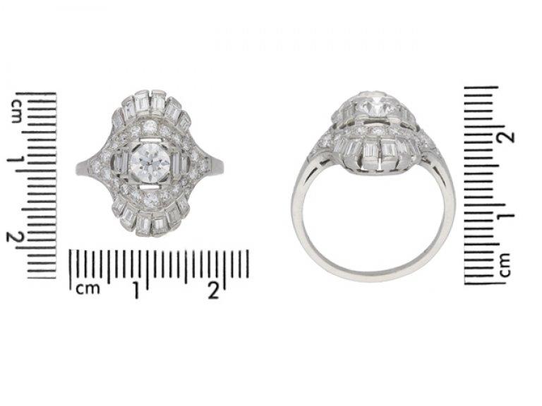 SIZE VIEW Art Deco diamond cluster ring, circa 1925.