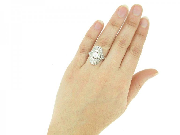 HAND VIEW Art Deco diamond cluster ring, circa 1925.