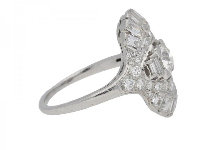 SIDE VIEW Art Deco diamond cluster ring, circa 1925.