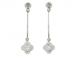front view antique diamond drop earrings berganza hatton garden