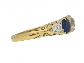 front view Antique sapphire and diamond five stone ring, English, circa 1903.