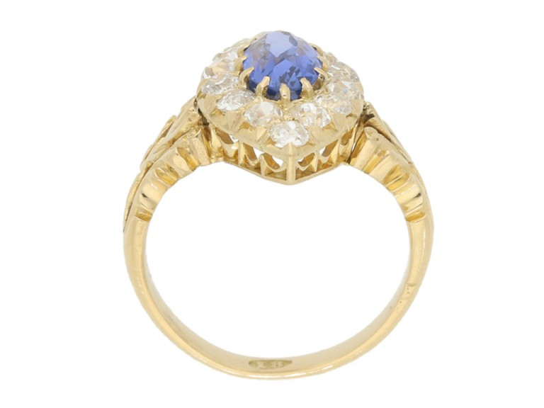 back view Antique sapphire and diamond cluster ring, circa 1890.