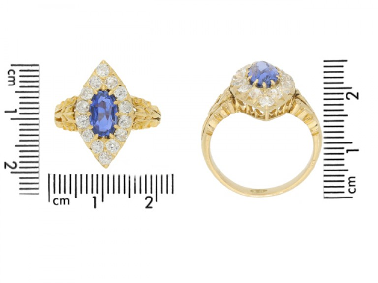 size view Antique sapphire and diamond cluster ring, circa 1890.