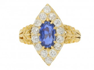 front view Antique sapphire and diamond cluster ring, circa 1890.