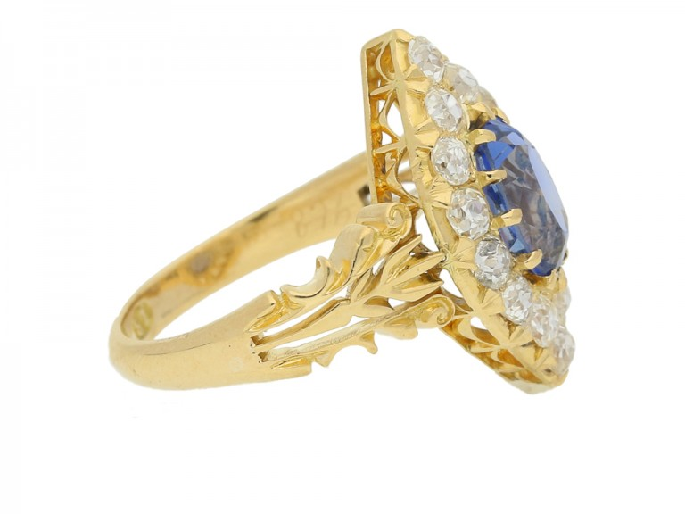 side view Antique sapphire and diamond cluster ring, circa 1890.