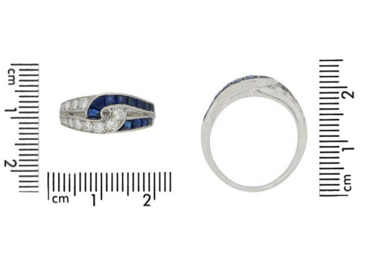 size view J. E. Caldwell sapphire and diamond ring, American, circa 1960s.