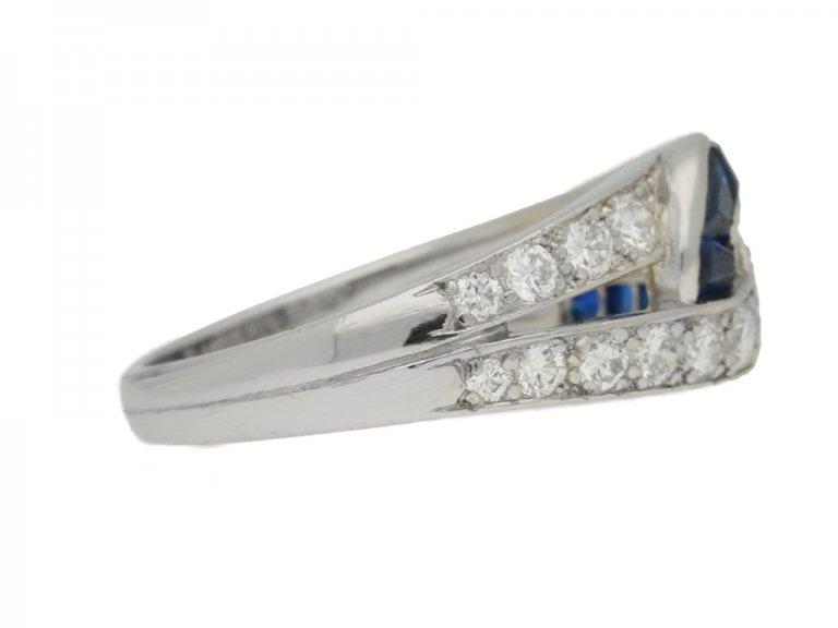 side view J. E. Caldwell sapphire and diamond ring, American, circa 1960s.