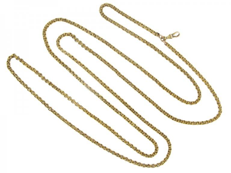 Victorian long guard chain, circa 1870.