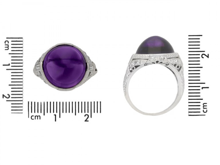 size view Cabochon amethyst and diamond cluster ring, circa 1920.