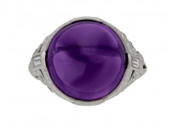 front view Cabochon amethyst and diamond cluster ring, circa 1920.