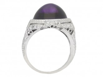 back view Cabochon amethyst and diamond cluster ring, circa 1920.