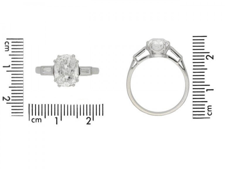 size view Cushion shape diamond ring with diamond set shoulders, circa 1950.