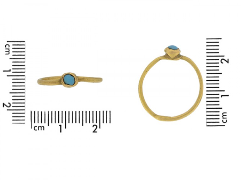 size view Medieval gold ring with turquoise, circa 13th century.