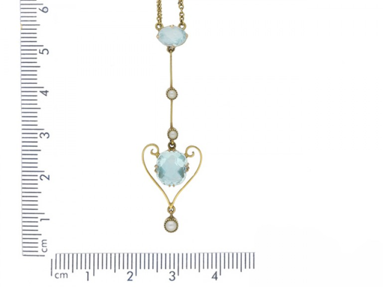 antique pearl aquamarine pendant hatton garden berganza