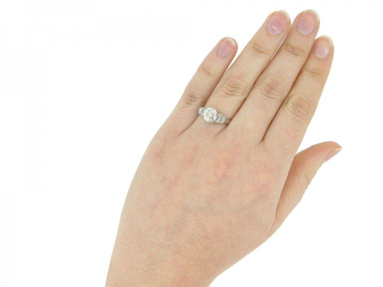 hand view Art Deco diamond engagement ring, circa 1935.