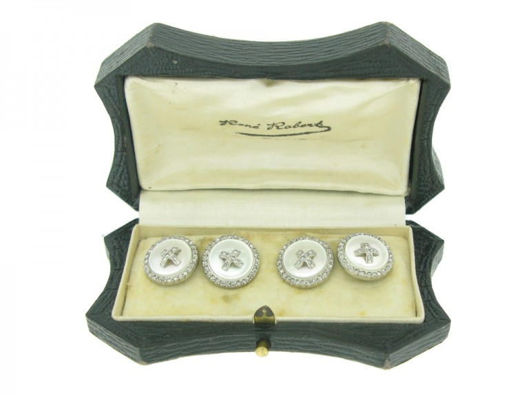 front view Antique diamond and mother of pearl cufflinks