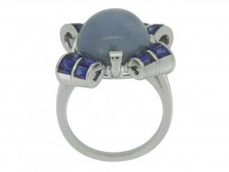 back view Oscar Heyman Brothers star sapphire ring, circa 1942.