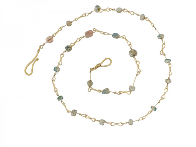 Ancient Roman glass bead necklace, circa 2nd century AD.