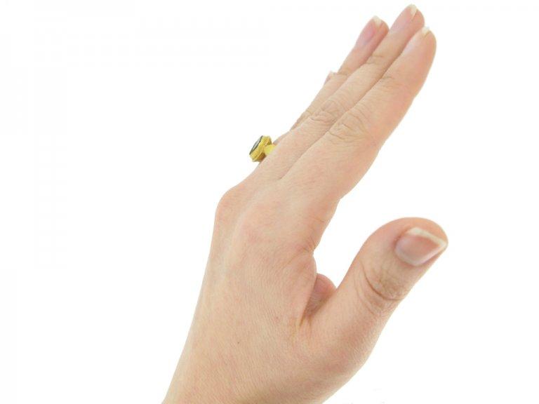 hand view Ancient Roman garnet ring, circa 3rd century AD.