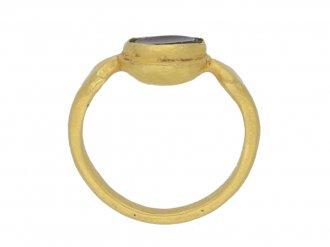 back view Ancient Roman garnet ring, circa 3rd century AD.