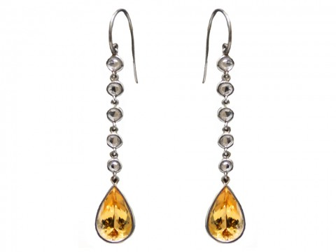 front view imperial topaz diamond drop earrings berganza hatton garden