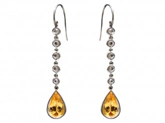 front view imperial topaz diamond drop earrings berganza hatton garden