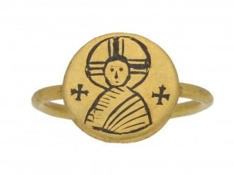 front view Byzantine gold iconographic ring, circa 6th   10th century.
