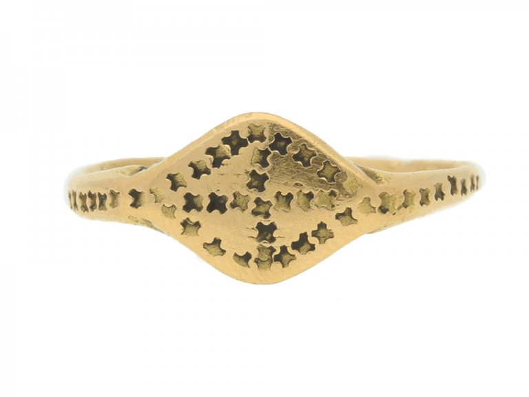 front view Byzantine gold stamped ring, circa 6th   10th century.