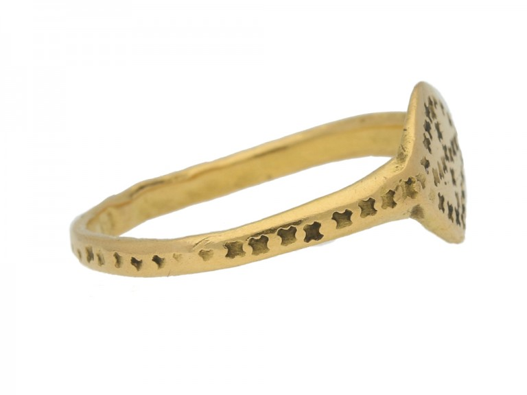 side view Byzantine gold stamped ring, circa 6th   10th century.
