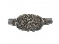 front view Medieval silver ring with Agnus Dei, circa 15th century.