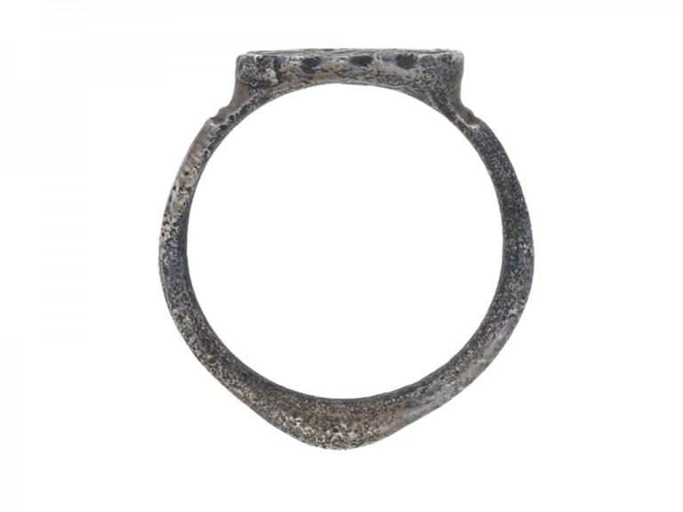 back view Medieval silver ring with Agnus Dei, circa 15th century.