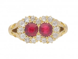 front view Antique ruby and diamond double cluster ring, English, circa 1901.