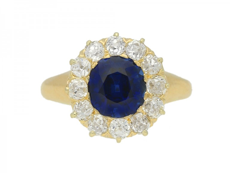 Sapphire and diamond cluster engagement ring by Tiffany & Co, circa 1900.