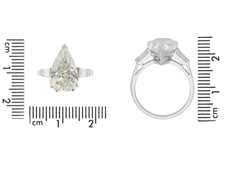 5.01cts Drop shape diamond ring, circa 1950.
