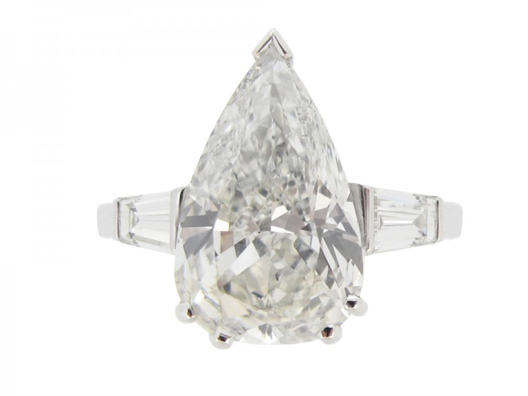 front view 5.01cts Drop shape diamond ring, circa 1950.