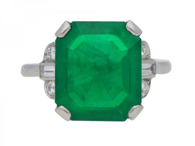 Art Deco solitaire Colombian emerald ring berganza hatton garden