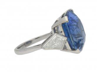 front view Natural Ceylon sapphire and diamond ring, circa 1950.