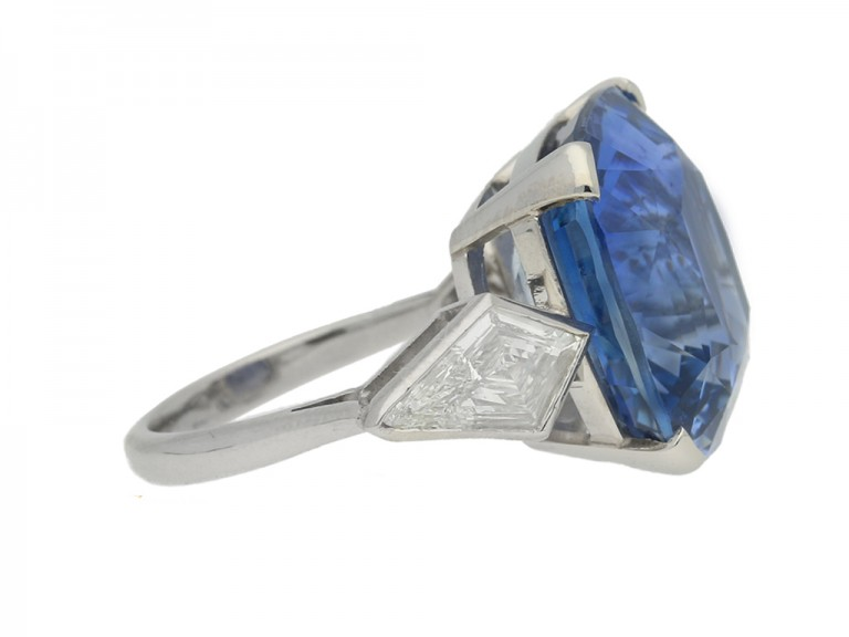 Natural Ceylon sapphire and diamond ring, circa 1950.