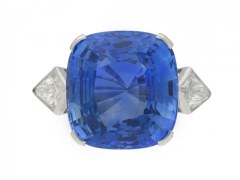front view Natural Ceylon sapphire and diamond ring, circa 1950.
