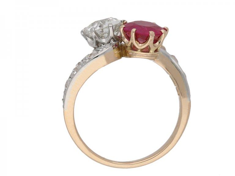 back view Antique ruby diamond cross over ring berganza hatton garden