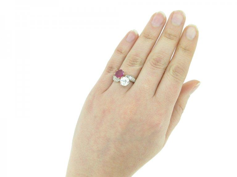 hand view Antique ruby diamond cross over ring berganza hatton garden