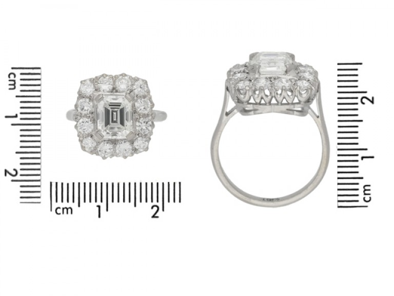 front view Vintage emerald cut diamond cluster ring, circa 1950.